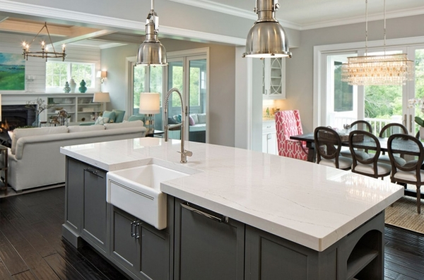 White Quartz Counters in Modern Country Kitchen